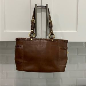 Authentic brown leather Coach bag